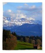 Early Snow In The Swiss Mountains Fleece Blanket