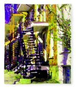 Early Spring Stroll City Streets With Spiral Staircases Art Of Montreal Street Scenes Carole Spandau Fleece Blanket