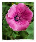 Early Summer Blooms Impressions - Bright Pink Malva - Vertical View Fleece Blanket