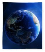 Earth And Galaxy With City Lights Fleece Blanket