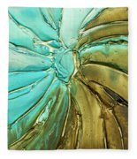 Aqua Teal Brown Organic Abstract Art Fleece Blanket
