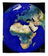 Earth From Space Europe And Africa Fleece Blanket
