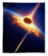Earth In A  Meteor Shower Fleece Blanket