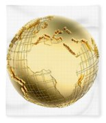 Earth In Gold Metal Isolated - Africa Fleece Blanket
