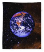 Earth In Space With Gaseous Nebula And Fleece Blanket