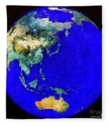 Earth Seen From Space Australia And Azia Fleece Blanket