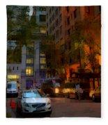 East 44th Street - Rhapsody In Blue And Orange - Close View Fleece Blanket