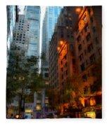 East 44th Street - Rhapsody In Blue And Orange Fleece Blanket