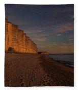 East Cliff Sunset Dorset Fleece Blanket