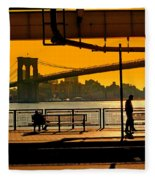 East River Sunset Fleece Blanket