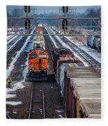 Eastbound And Westbound Trains Fleece Blanket