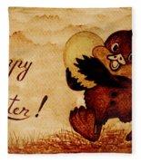 Easter Golden Egg Coffee Painting Fleece Blanket