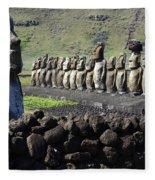Easter Island 4 Fleece Blanket