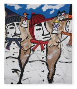Easter Island Snow Men Fleece Blanket