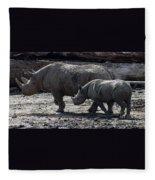 Eastern Black Rhinos Mama N Baby Fleece Blanket