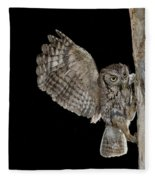 Eastern Screech Owls At Nest Fleece Blanket