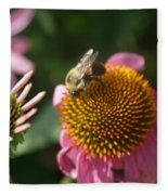 Echinacea And Bee Fleece Blanket