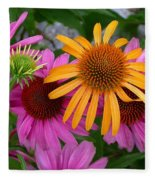 Echinacea Mango Meadowbrite Fleece Blanket