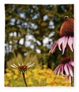 Echinacea With Bee Fleece Blanket