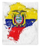 Ecuador Painted Flag Map Fleece Blanket