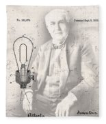 Edison And Electric Lamp Patent Fleece Blanket