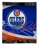 Edmonton Oilers Christmas Fleece Blanket