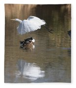 Egret And Geese At Gilbert  Riparian Preserve Fleece Blanket