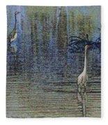 Egret And Heron Watching Fleece Blanket