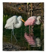 Egret And Pink Spoonbill Fleece Blanket
