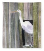 Egret At John's Pass Fleece Blanket