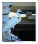 Egret At The Lake Fleece Blanket