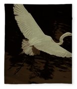 Egret Fractalius Fleece Blanket
