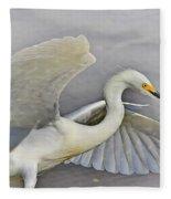 Egret Grace At The Beach Fleece Blanket
