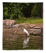 Egret In Central Park Fleece Blanket