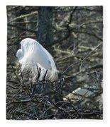 Egret In Full Display Lake Martin Louisiana Fleece Blanket