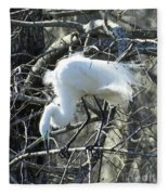 Egret In Lake Martin Swamp Louisiana Fleece Blanket