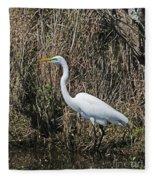 Egret In Marsh In Display  Fleece Blanket