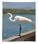 Egret On A Pier Fleece Blanket