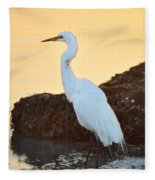 Egret On Dunedin Causeway Fleece Blanket