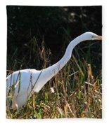 Egret On The Move Fleece Blanket