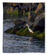 Egret On The Rocks Fleece Blanket