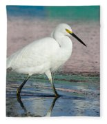 Egret Reflections- 2  Fleece Blanket