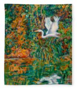 Egret Reflections Fleece Blanket