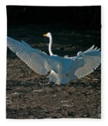 Egret Showing Off Fleece Blanket