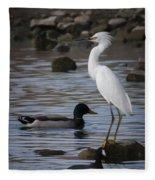 Egret Standing Guard Fleece Blanket