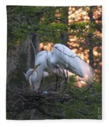 Egrets At Nest Fleece Blanket