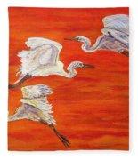 Egrets In Flight Fleece Blanket