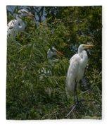 Egrets In Tree Fleece Blanket
