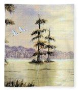 Egrets Over Wakulla Springs Fleece Blanket
