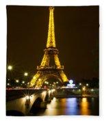 Eiffel At Night Fleece Blanket